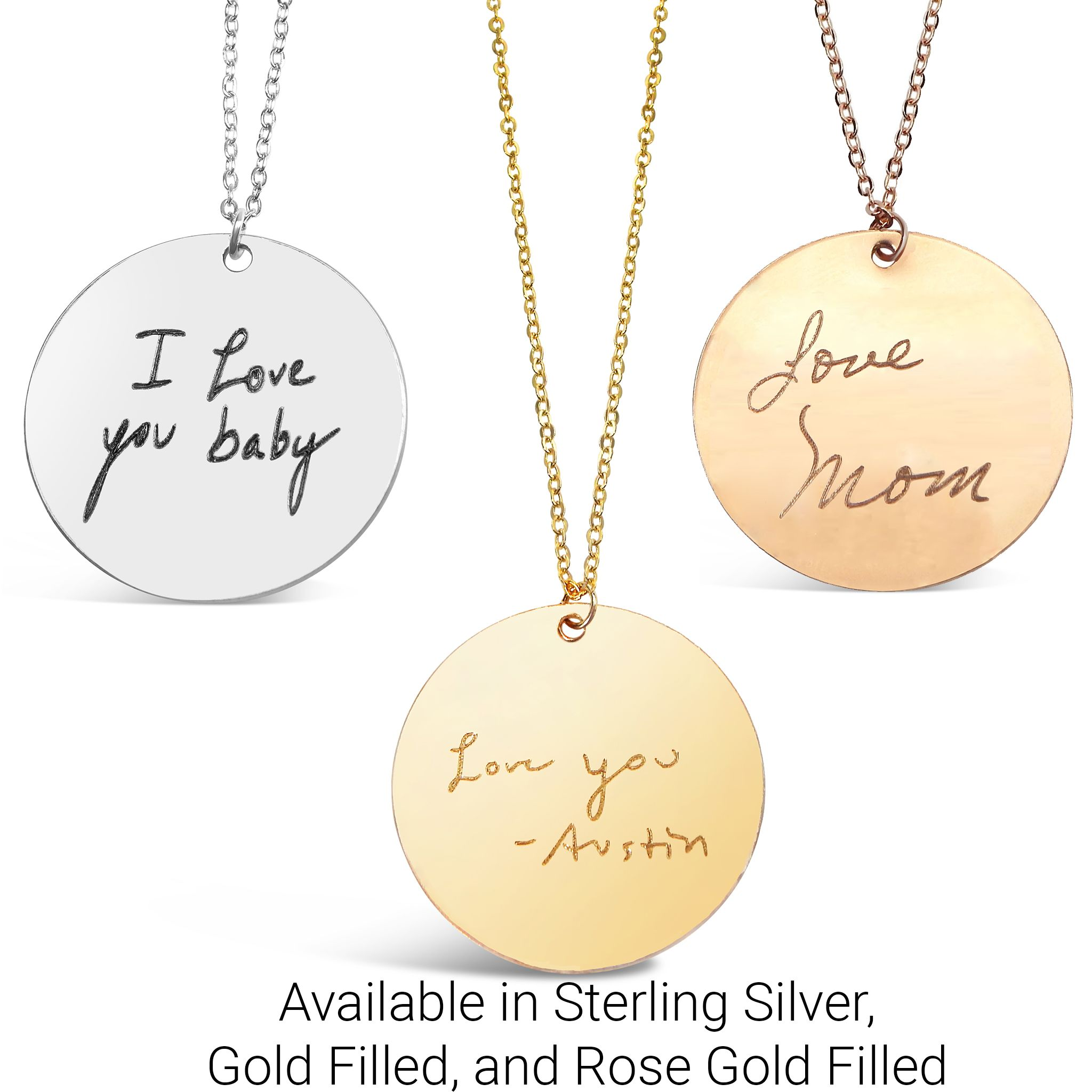 Actual Handwriting Round Necklaces Available In Sterling Silver