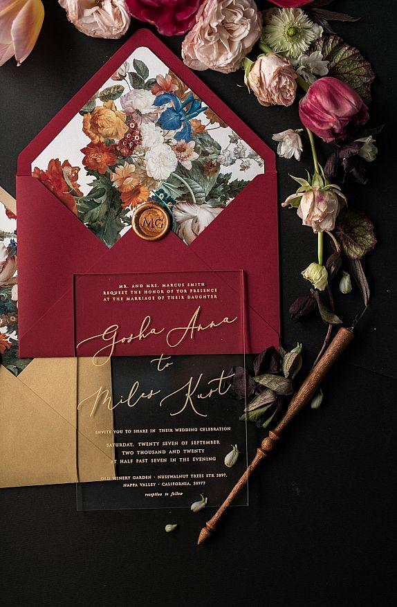 Vintage Wedding Invitations Transparent Stationery with Vellum Belly Band and Wax Seal Burgundy Marsala or Gold  Envelope