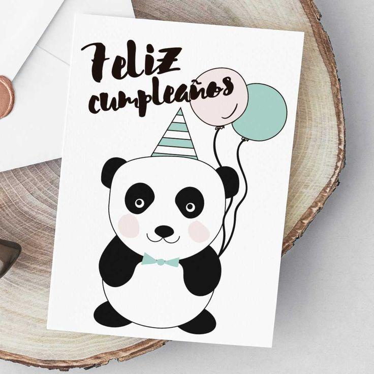 Felicitación de cumpleaños con dibujo de oso panda para