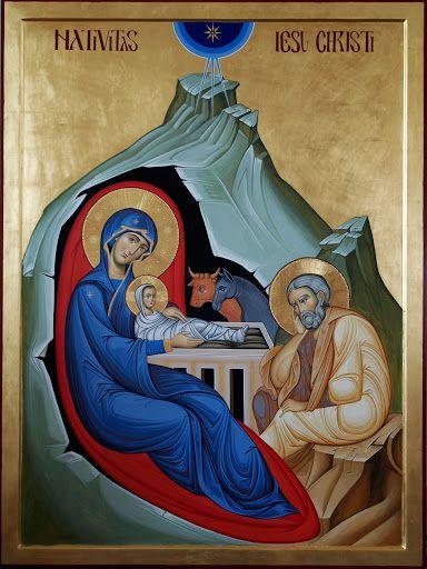 """Studio icona """"Sacra Famiglia nella Natività"""" - iconecristiane --  kinda looks like the Holy Family is in a womb"""