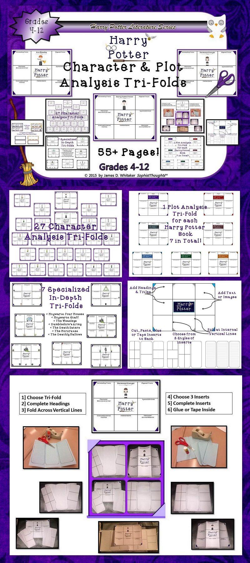 Harry Potter Character And Plot Analysi Tri Fold Classroom Unit Study Activities Literary Essay