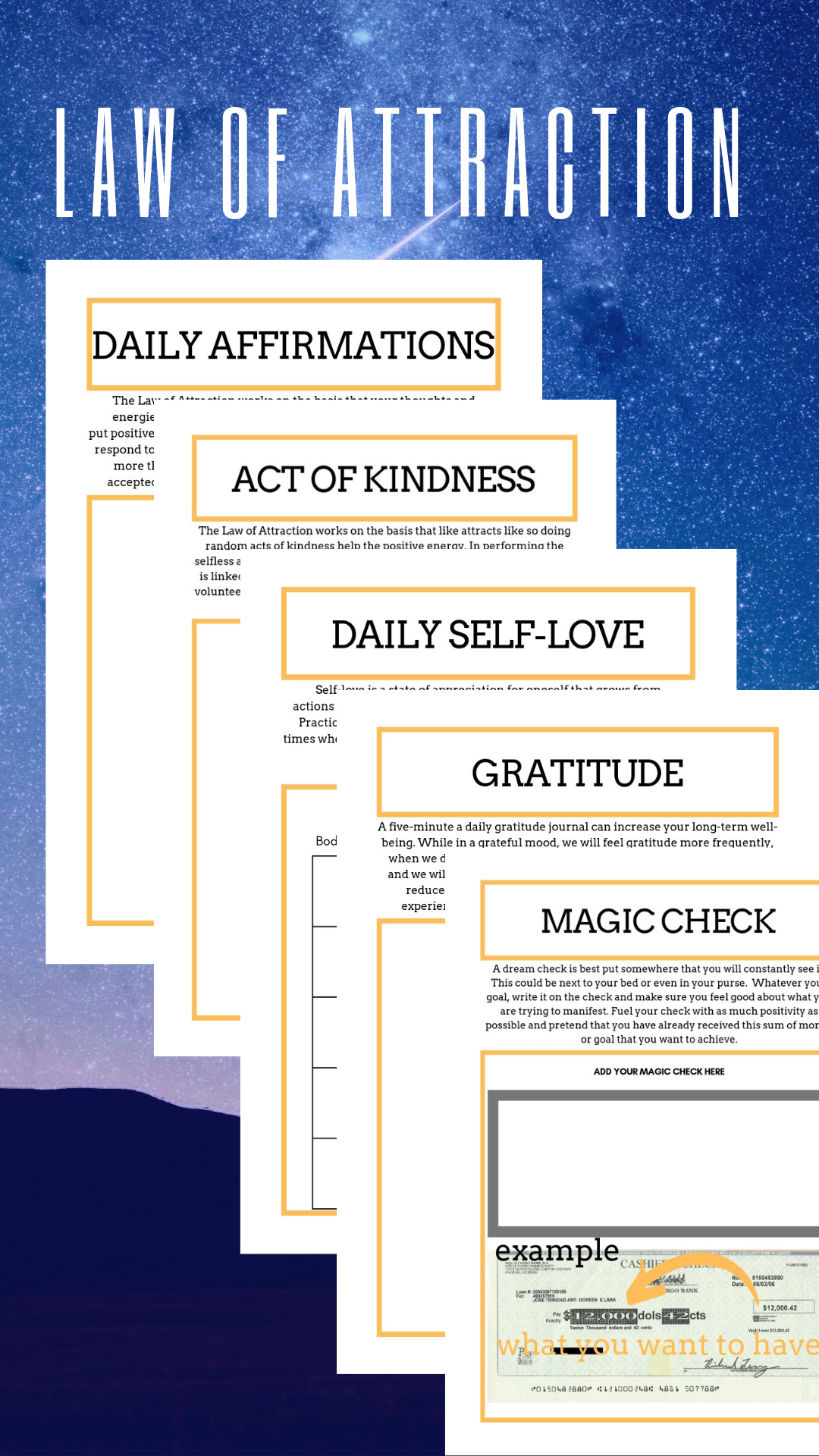 Law Of Attraction Planner Printable Manifestation Planner