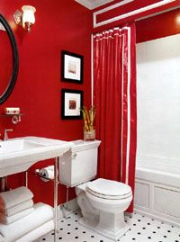 Bathroom Decor Ideas With Red if you like red, this bathroom is for you! | bathroom decorating