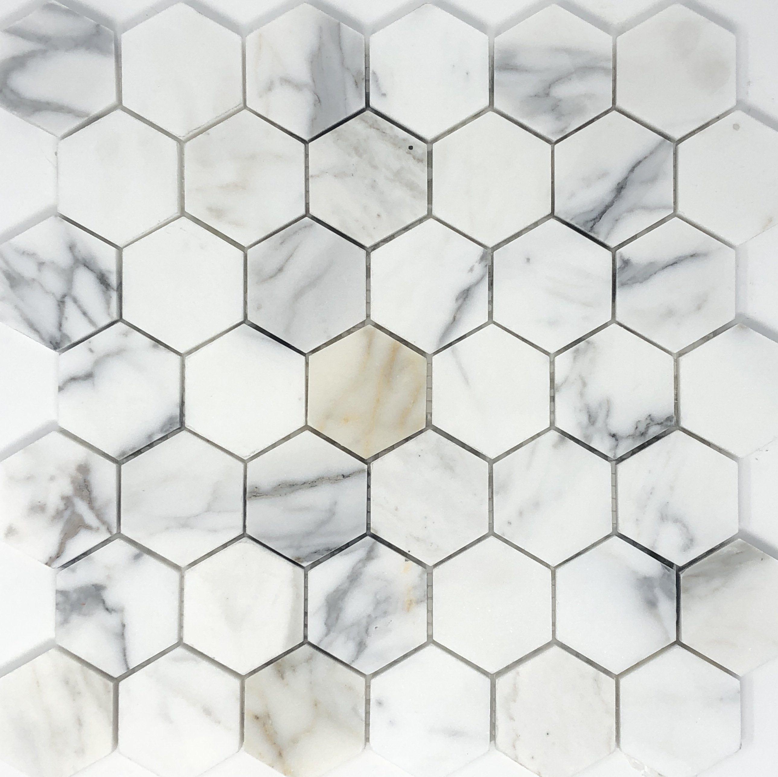 calacatta gold hexagon 2 marble mosaic
