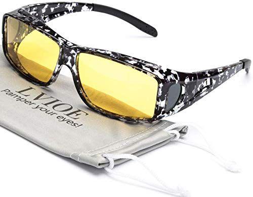 Night Vision HD Lens Sunglasses Driving Goggle Fit Over Prescription Eye Glasses