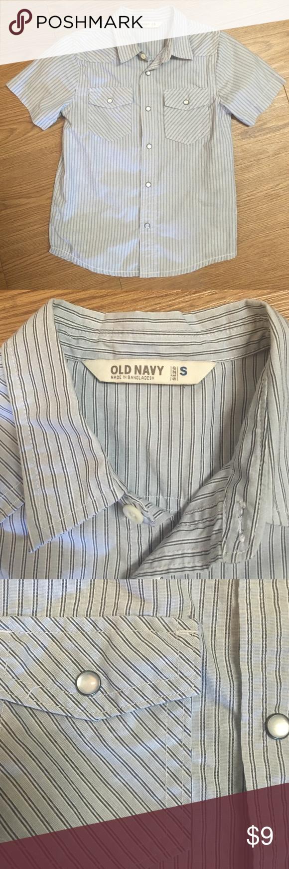 Boy's Old Navy pearl snap shirt size small Gray pearl snap shirt with blue pin stripes. Boy's size small. Like new. Old Navy Shirts & Tops Button Down Shirts