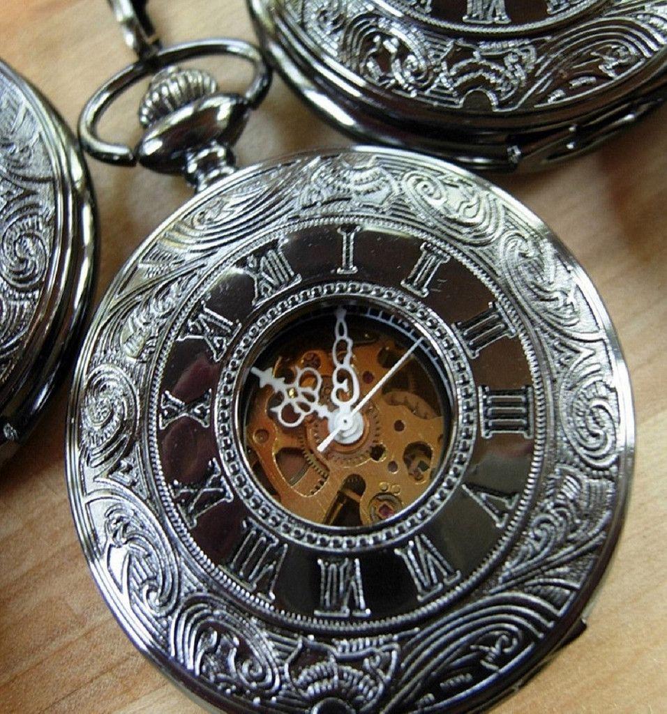Black pocket watch black dial rose gold roman numerals