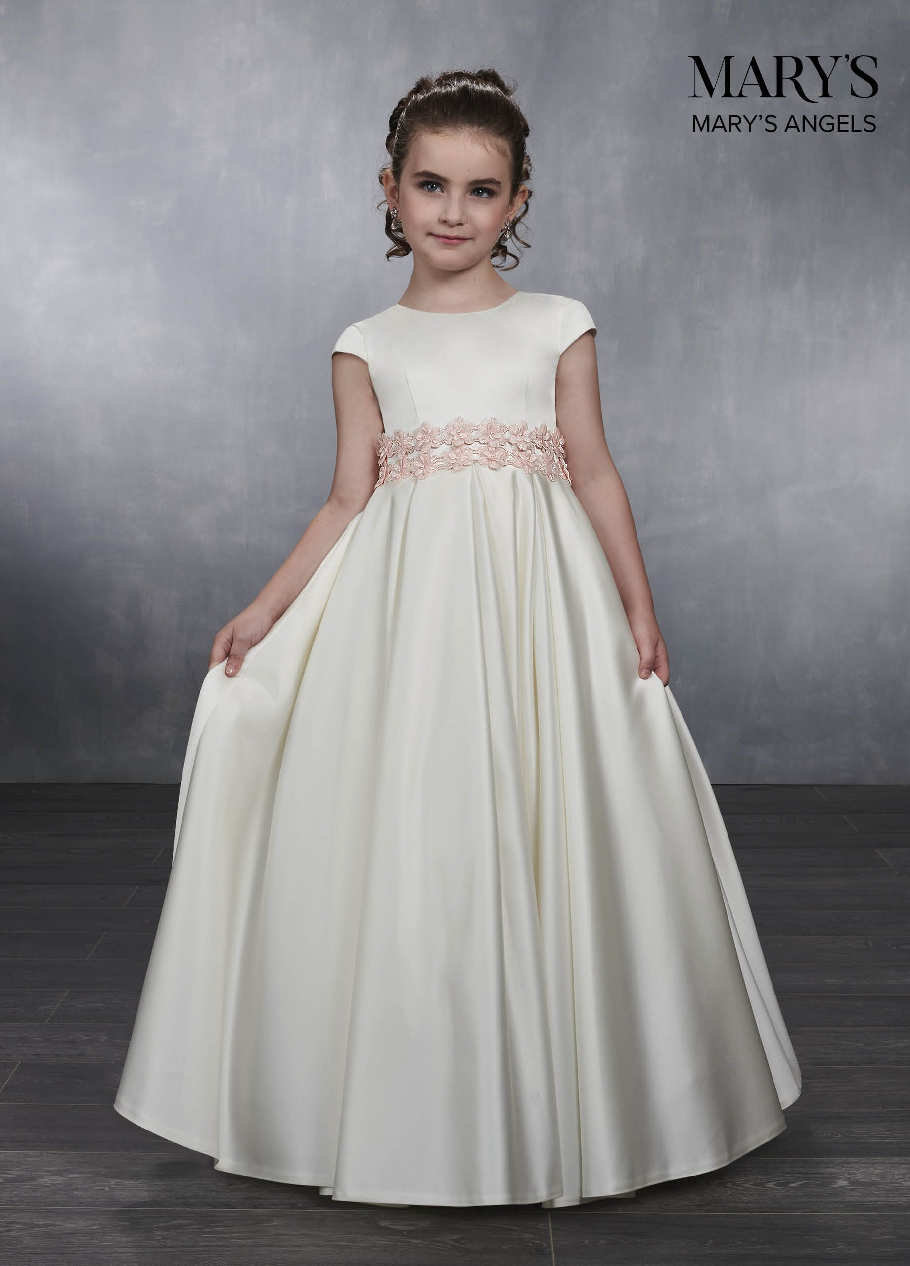 4e6123161 Floor length satin flowergirl dress with jewel neckline, cap sleeves,  pleated skirt, lace-up back closure, and 3D flower trims on the empire  waistline.