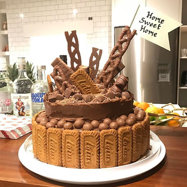 Look What Michaelafinnan Made Me For My House Warming Party Chocolate Fudge Cake With Biscoff Butter Cream And C Cake Chocolate Drip Cake Chocolate Fudge Cake