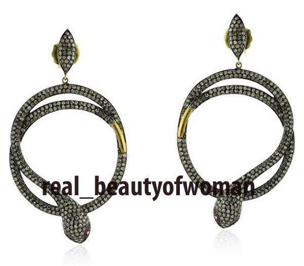 Edwardian Handmade 4.69c Rose Cut Diamond Awesome Snake Earrings Dangler VTJ RBW #reabeautyofwoman #Snake