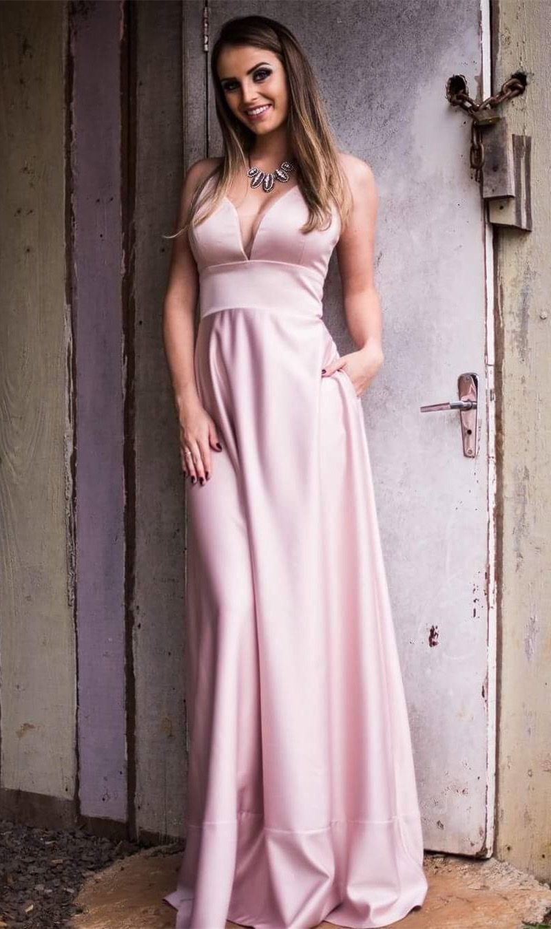2b01dff992 A-Line Deep V-Neck Sweep Train Pink Satin Prom Dress with Pockets