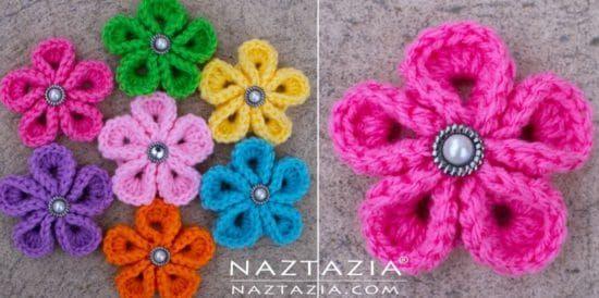 Crochet Kanzashi Flower Pattern Easy Tutorial Video | Flower ...