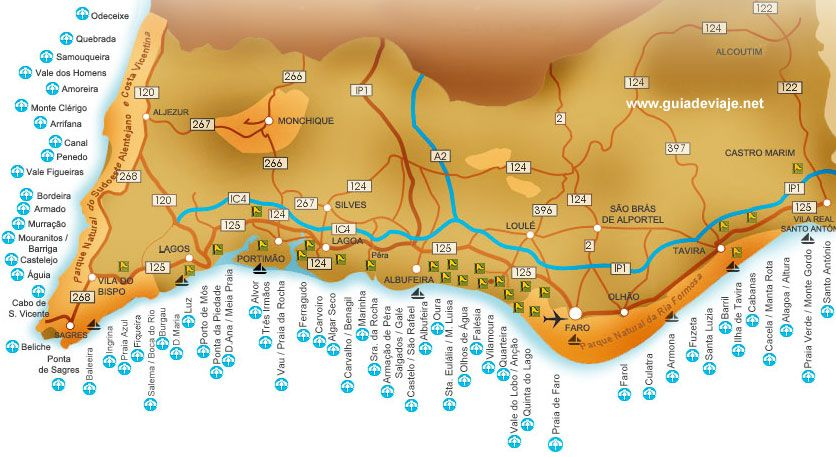 Todas Las Playas De Algarve Portugal Viajes Pinterest - Portugal map alvor