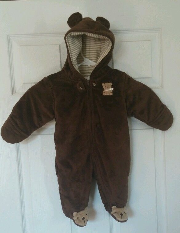 ad1840b74 Carters Set of 3 Hooded Snowsuit Hooded One Piece Sleeper Bear ...