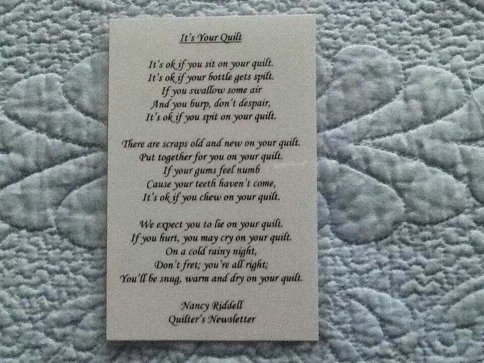 Poem for a baby's quilt | Quilting | Pinterest | Poem, Quilt ... : baby quilt poem - Adamdwight.com