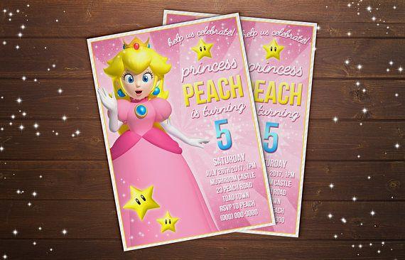 PRINTABLE Custom Princess Peach Super Mario Birthday Party