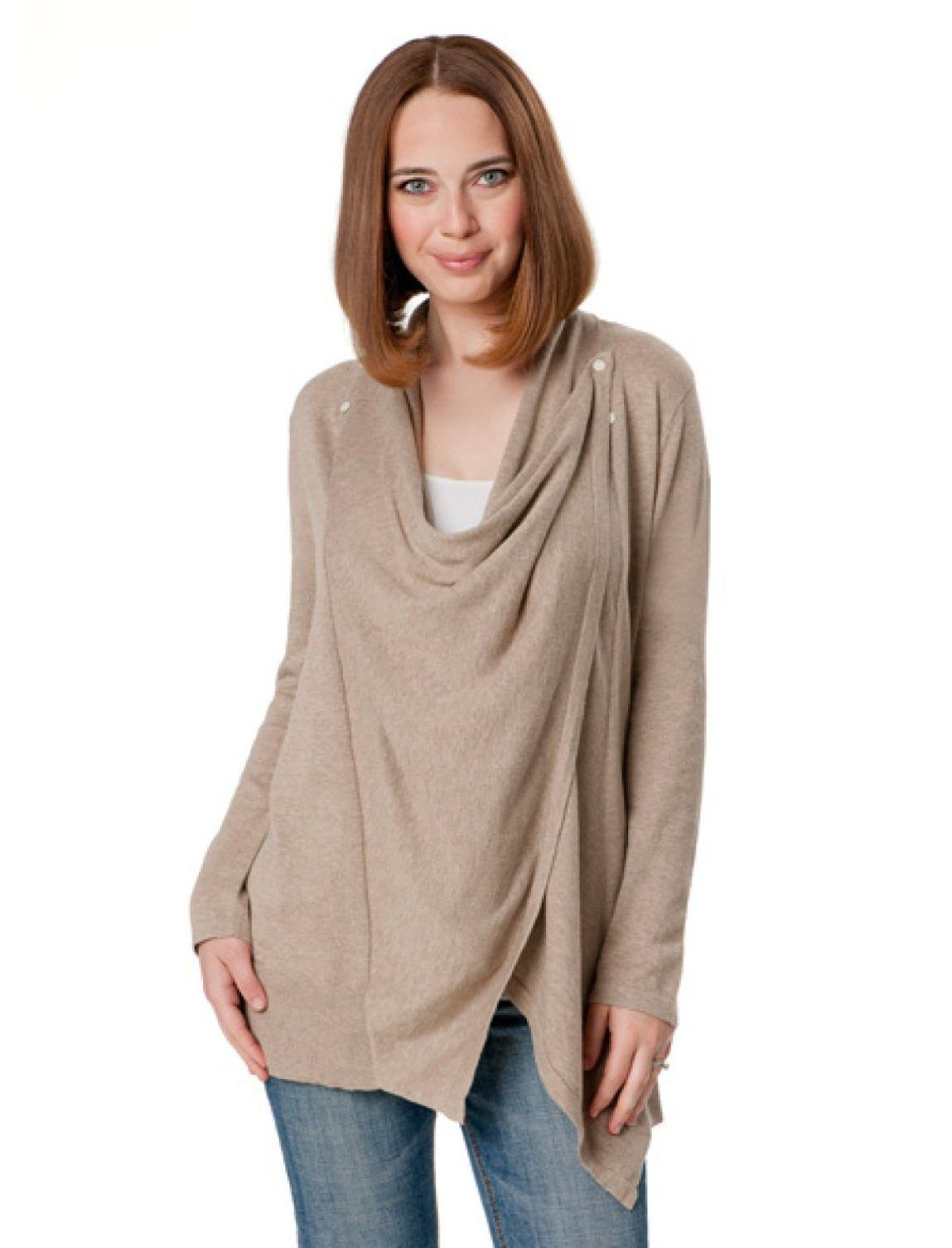 3804fbd18 Amazon.com  Motherhood Maternity  Long Sleeve Pull Over Button Front Nursing  Top  Clothing