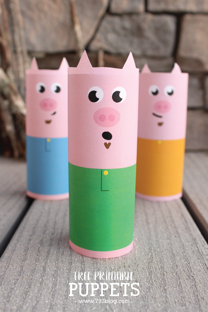 Three Little Pigs and the Big Bad Wolf Printable Puppets