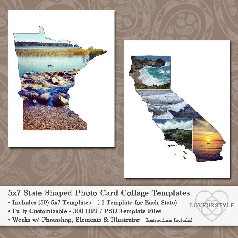 5x7 State Shaped Photo Card Collage Template Pack Includes Etsy Photo Collage Template Collage Template Postcard Template