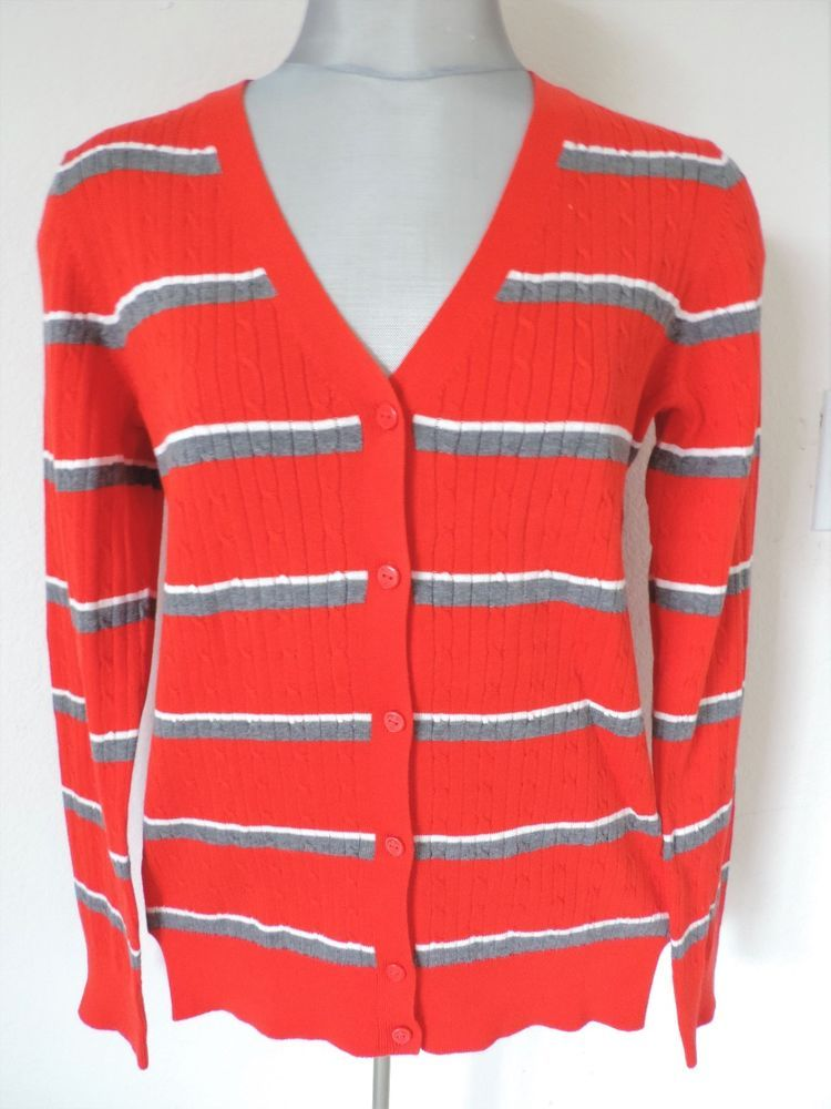 119081031f Tommy Hilfiger Womens Striped Cable Knit Sweater Cardigan