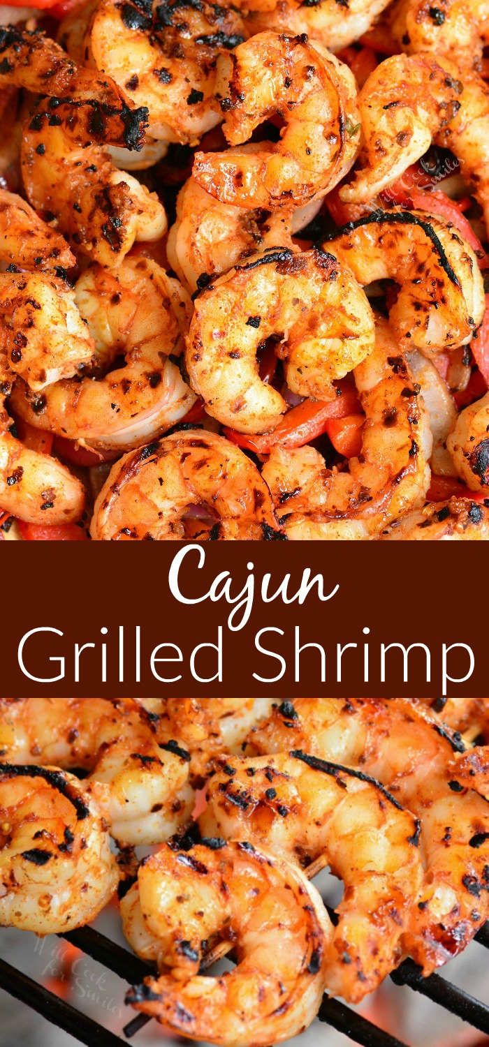 Cajun Grilled Shrimp. Sweet and spicy Cajun Shrimp recipe made on the grill and paired with grilled onions and peppers that's also flavored with Cajun seasoning. #shrimp #grilledshrimp #cajun #easydinner #grilledshrimp