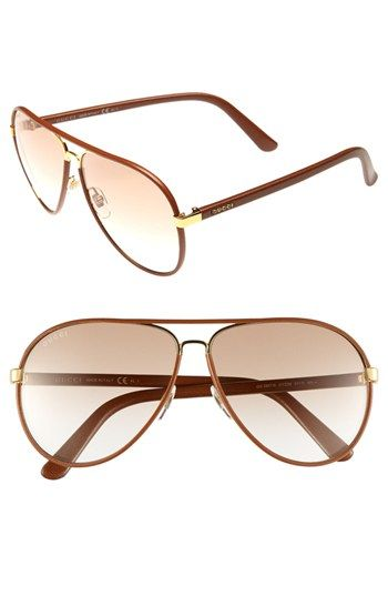 25a1a7332b8 Gucci 61mm Leather Frame Aviator Sunglasses available at  Nordstrom ...