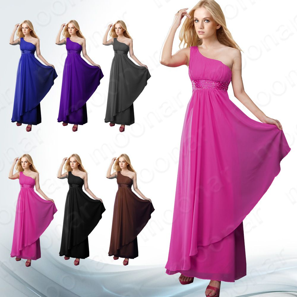 Lady One-Shoulder Chiffon Evening Party Prom Gowns Ball Long Dress 6 ...
