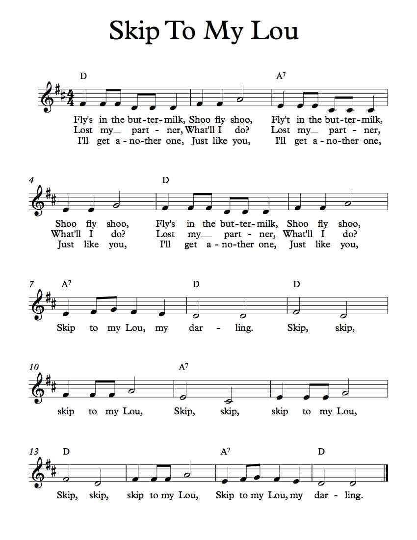 Free Lead Sheet Skip To My Lou In 2018 Free Sheet Music