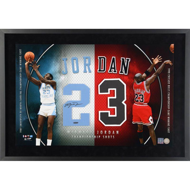 2f9b393ecce Michael Jordan Chicago Bulls/North Carolina Tar Heels Upper Deck Framed  Autographed Jersey Numbers - Upper Deck