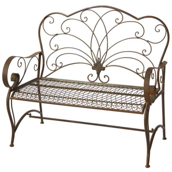 Iron Patio Bench | Details About Tuscan Cast Wrought IRON SCROLL Patio  Garden Bench New