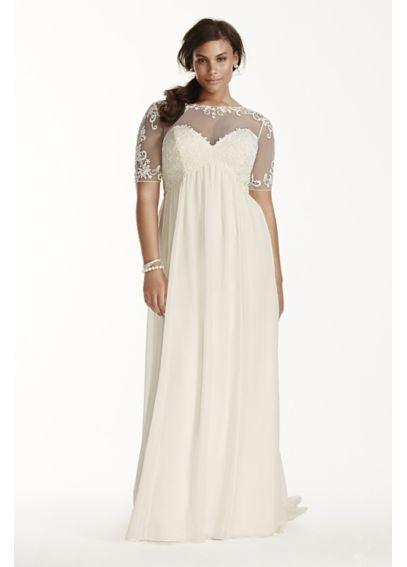 Illusion Sleeve Chiffon Plus Size Wedding Dress 9wg3749 Our Big