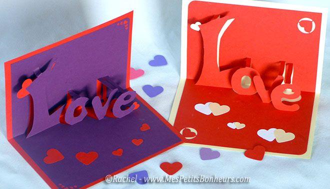 Carte love 3d kirigami imprimer pour la saint - Pinterest bricolage st valentin ...