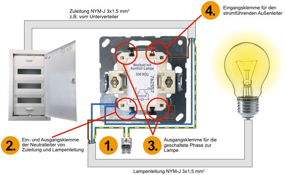 Kontrollschaltung Elektroinstallation Kontrollschalter Verklemmen Kontrollschalter Montieren Ausschalter Mit Kontrolll Schalter Elektroinstallation Elektro
