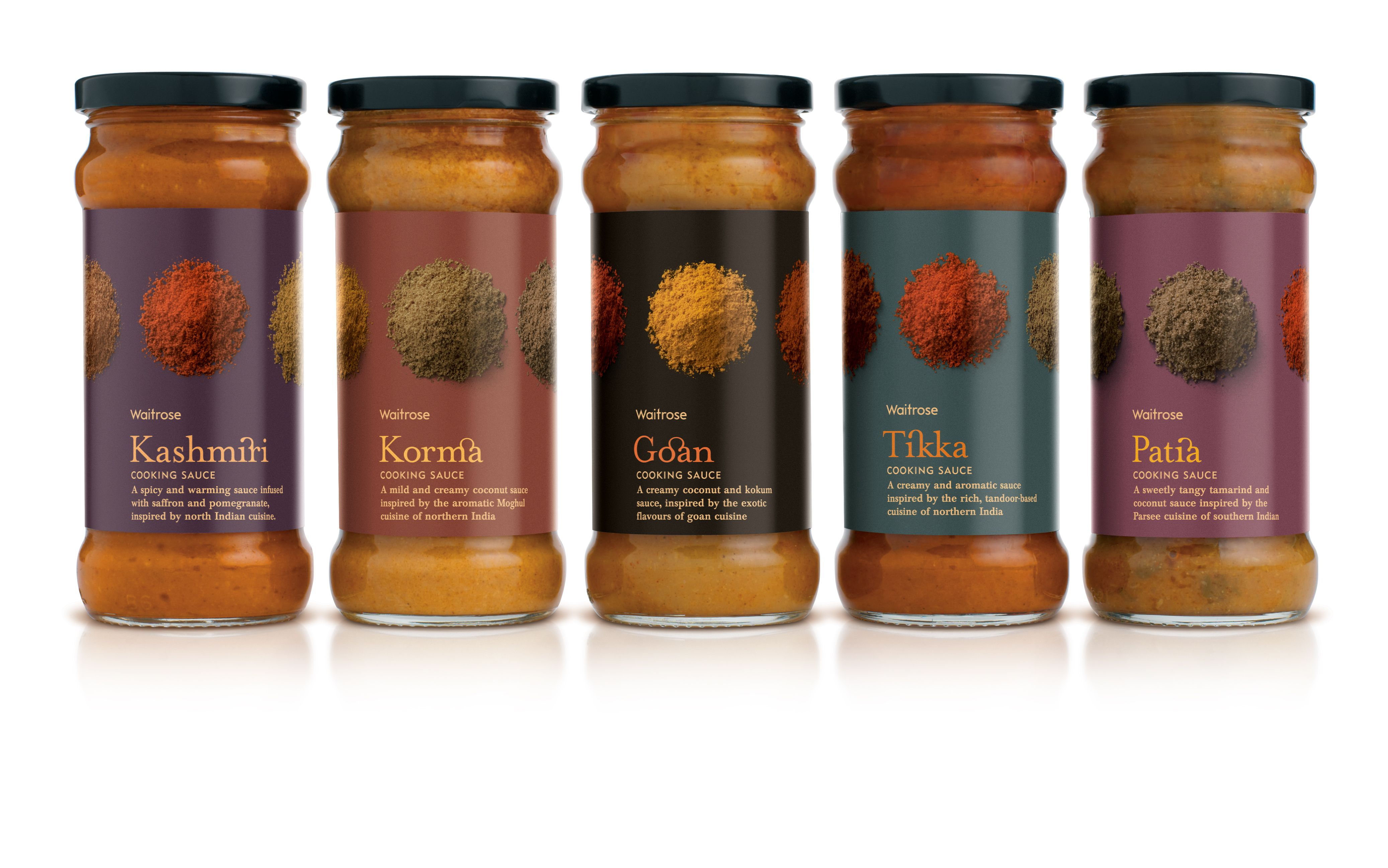 Waitrose Curry Sauce packaging. Designed by Turner Duckworth.