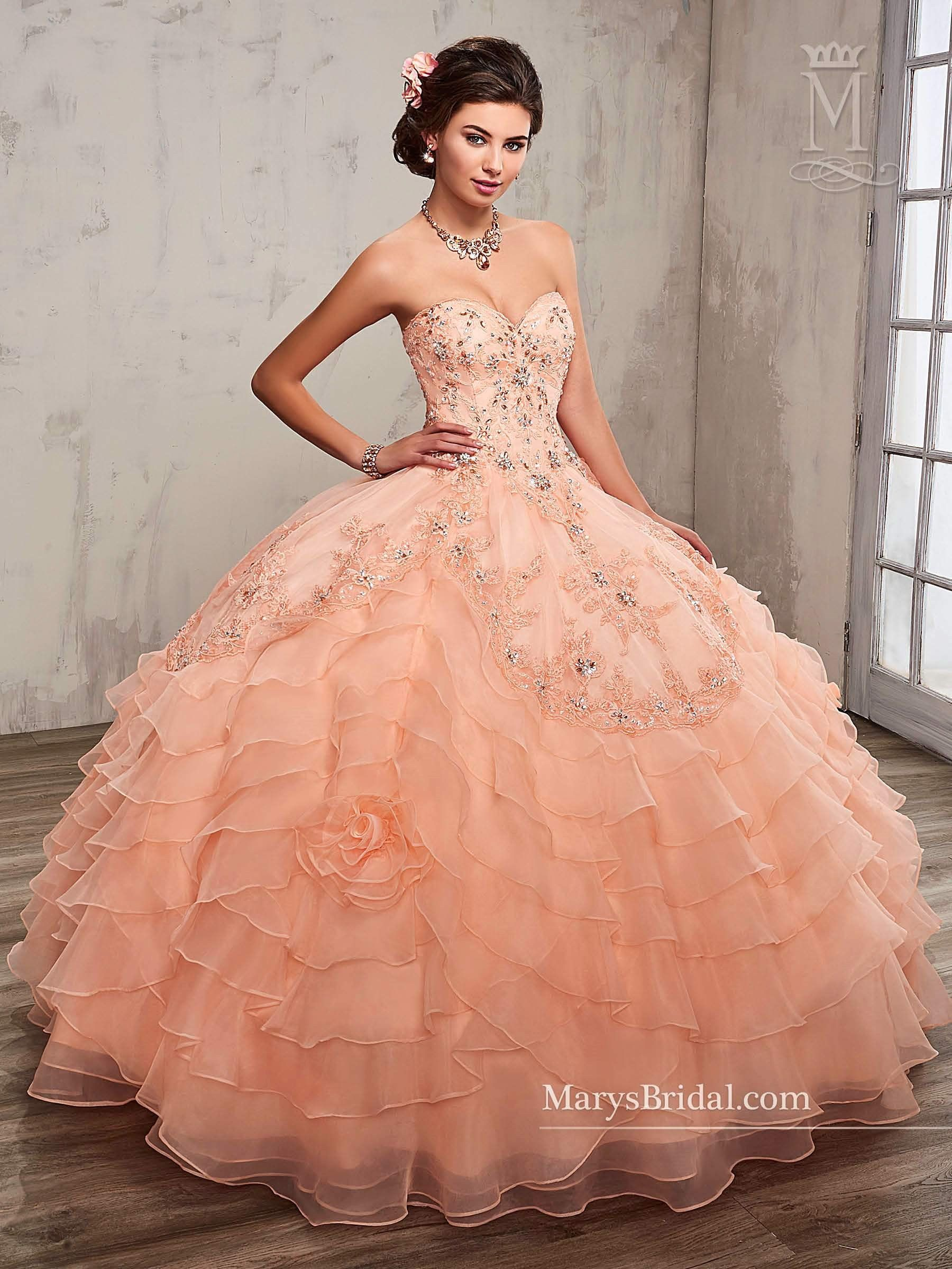 4c39e3357eb Strapless Tiered Quinceanera Dress by Mary s Bridal Princess 4Q505 ...