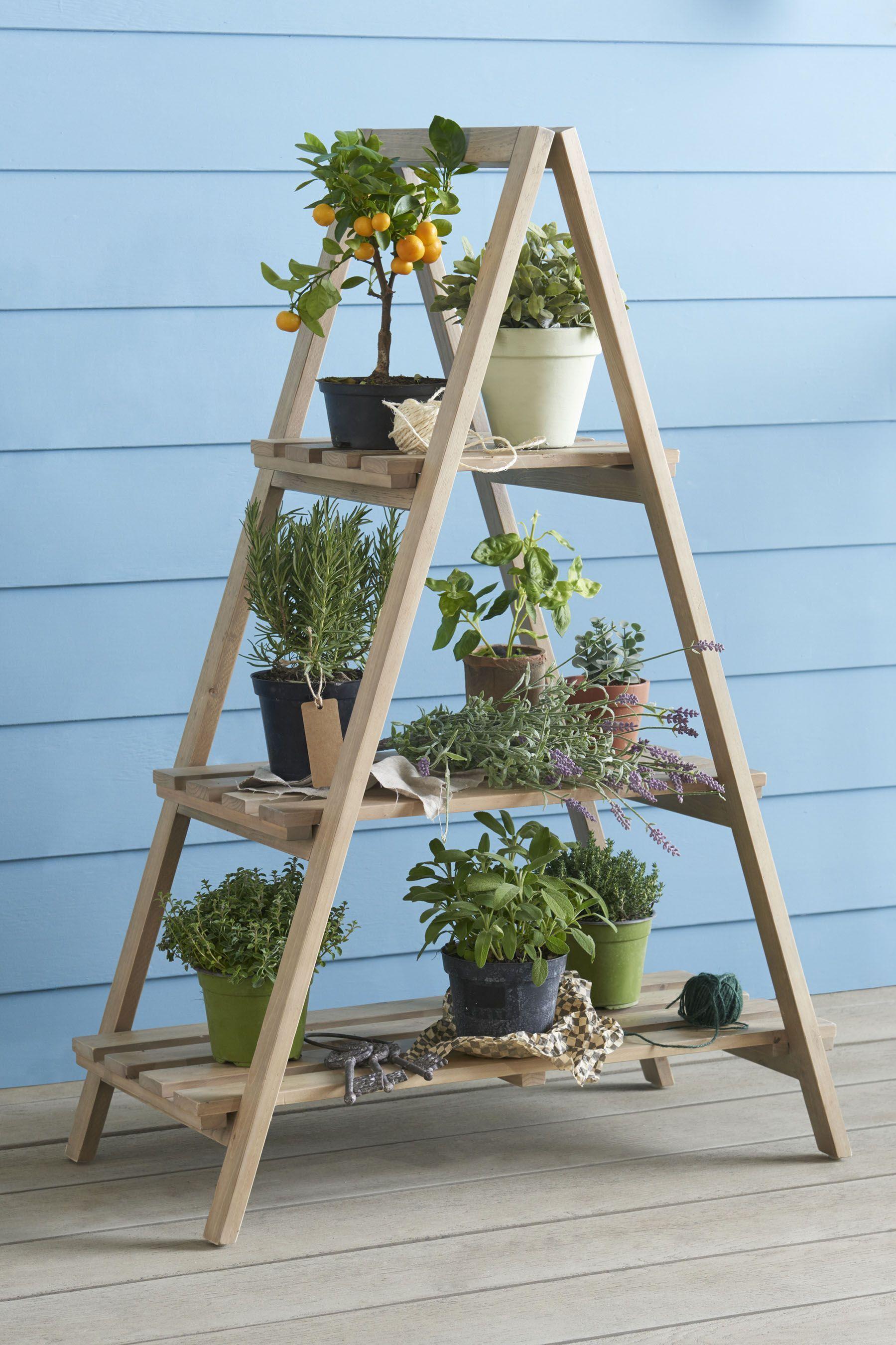 Wooden Ladder Planter In 2020 Wooden Ladder Decor 640 x 480
