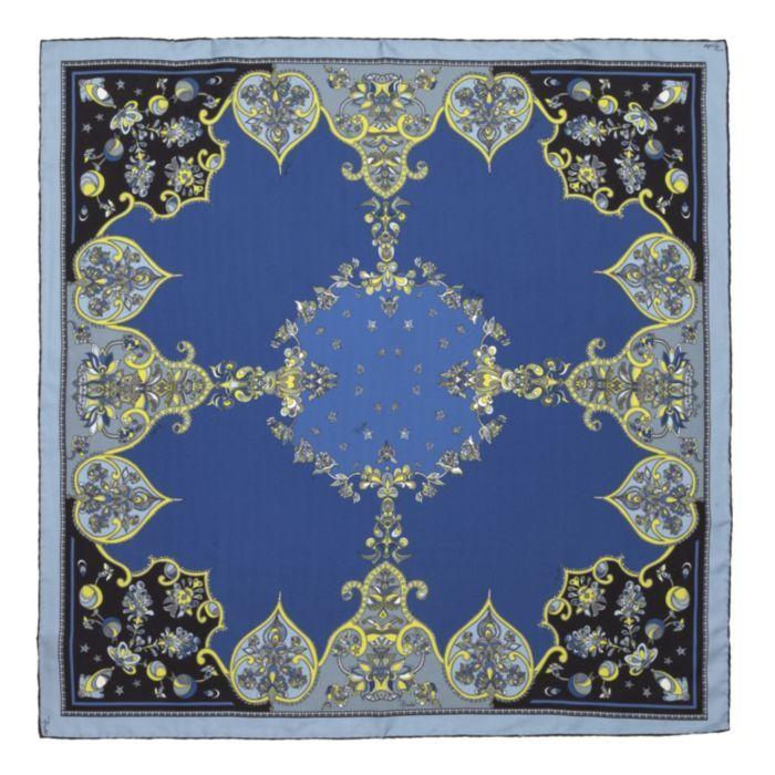 Emilio Pucci Scarves Ornamental Fractal Design Silk Scarf In Blue, Black & Green featured in vente-privee.com