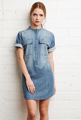 e2b2960bc1d Collarless Denim Shift Dress