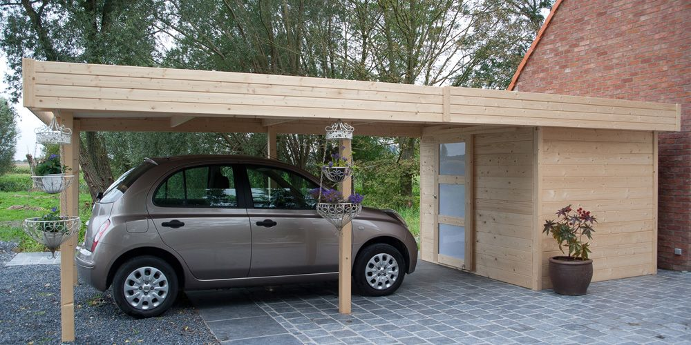 abri de jardin cambrai 21 m avec carport carport abri. Black Bedroom Furniture Sets. Home Design Ideas