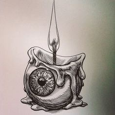 Digging This Rad Eyeball Candle Sketch By The Awesome Glennoart Who Has A Fantastic Portfolio Of Work Be Sure To Check Ou Art Tattoo Cool Drawings Tattoos