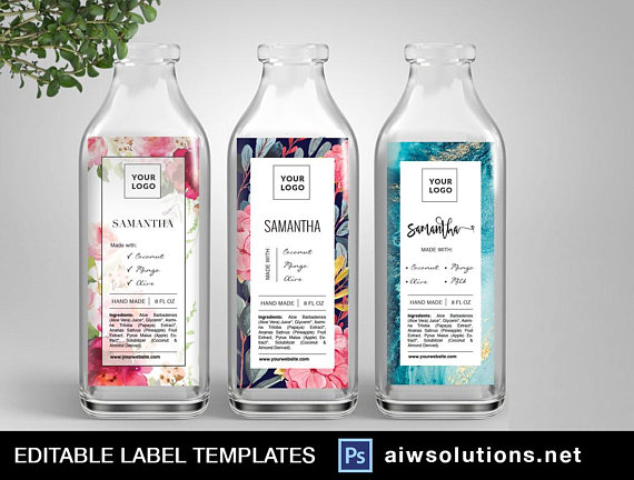 watercolour flowerlabel template packaging template oils label