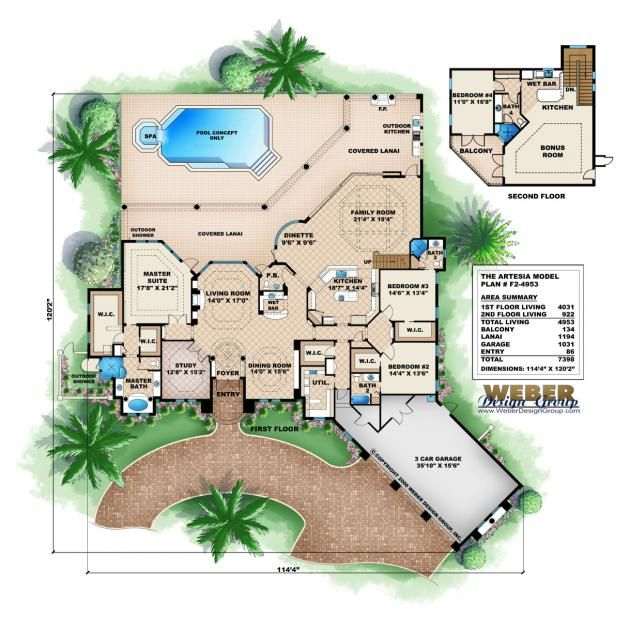 Mediterranean House Plan 2 Floor Mediterranean Home Floor Plan