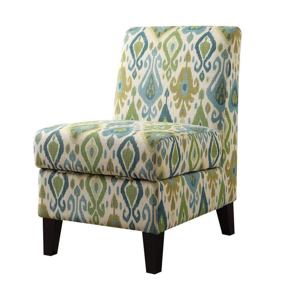 Acme Furniture Ollano Ii Green Pattern Accent Chair With Storage