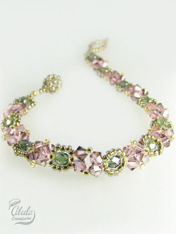 Bracelet > Swarovski Czech Crystal Bracelet / Beaded Woven Antique colored Bracelet / B001