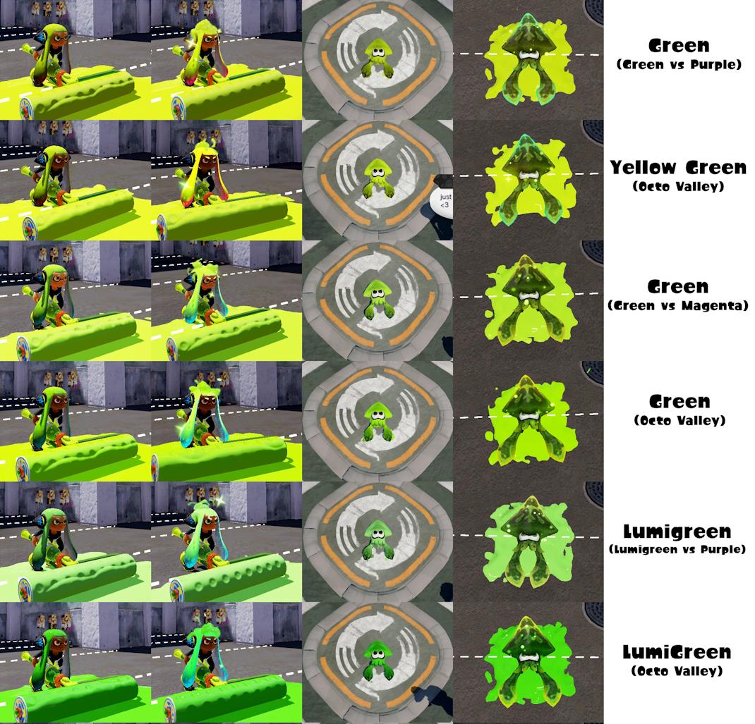 Green Ink color variations - Splatoon