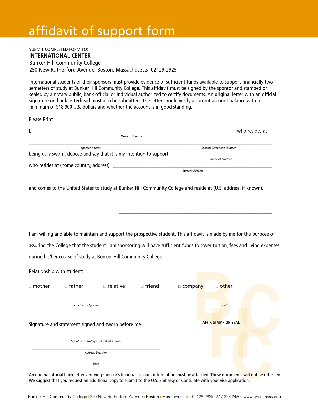 Affidavit Of Support Sample - Free Printable Documents in 17