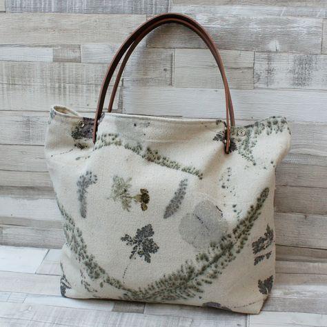 Bolso bag shopping hecho mano españa tela piel seda rustica
