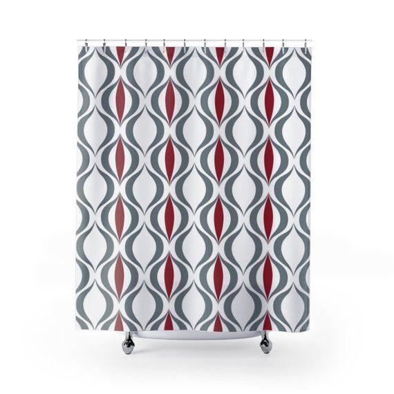 Crimson And Gray Alabama Tide Retro Pattern Shower Curtain Bama Fan Football Home Decor