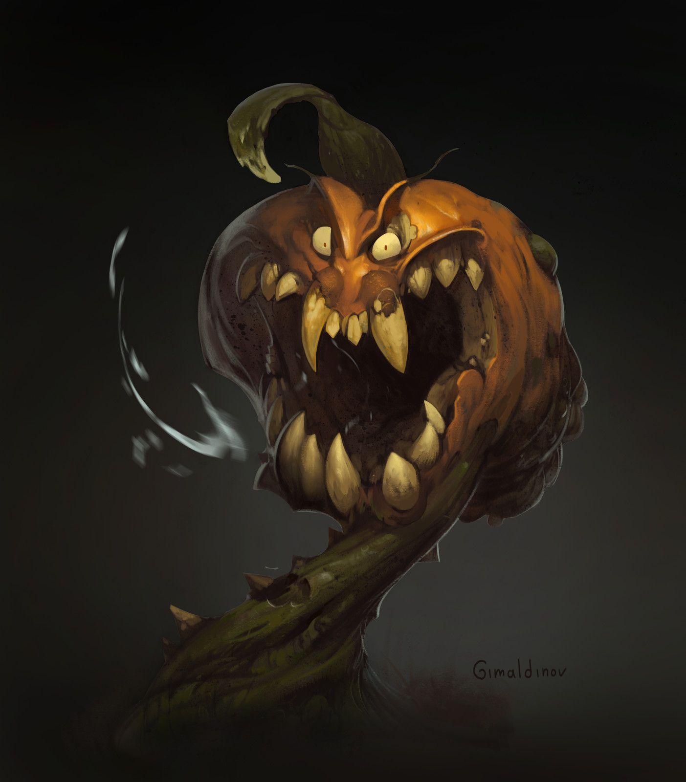 Creepy Pumpkin, Arthur Gimaldinov on ArtStation at https://www.artstation.com/artwork/o0qRk
