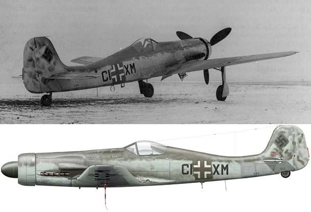 The Focke-Wulf Ta 152 V7 (a C-0/R11) photographed at Sorau in early 1945. It was test flown by Hans SANDLER